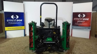 2013 RANSOMES HIGHWAY 3 TRIPLE MOWER 33 HP DIESEL ENGINE, POWER STEERING, 4 WHEEL DRIVE, SERVO CONTROLLED HYDROSTATIC TRANSMISSION, SET OF 6 KNIFE SPORT 200 UNITS, SWING OUT CENTRE UNIT, ARM REST MOUNTED CONTROLS, STORAGE RACKS. GF000606 1